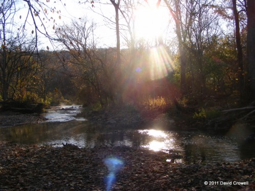 Morning sun over creek